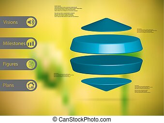 3D illustration infographic template with two cylinders...