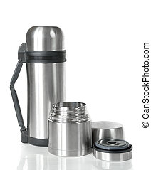 two shiny metal thermos with lid open