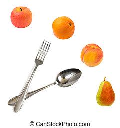 feito, relógio, frutas