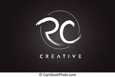 RC Brush Letter Logo Design. Artistic Handwritten Letters...