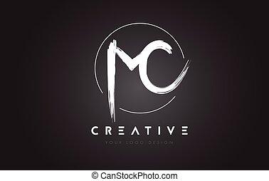 MC Brush Letter Logo Design. Artistic Handwritten Letters...