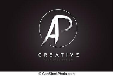 AP Brush Letter Logo Design. Artistic Handwritten Letters...