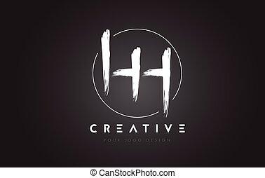 HH Brush Letter Logo Design. Artistic Handwritten Letters...