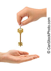 Hands and key isolated on white background