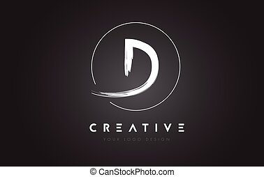 D Brush Letter Logo Design. Artistic Handwritten Letters...