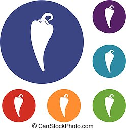 Hot chili pepper icons set in flat circle reb, blue and...