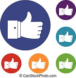 Thumb up gesture icons set in flat circle reb, blue and...