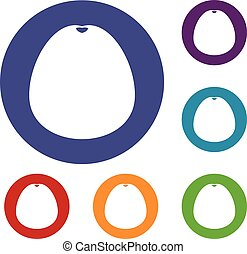 Pomelo icons set in flat circle reb, blue and green color...