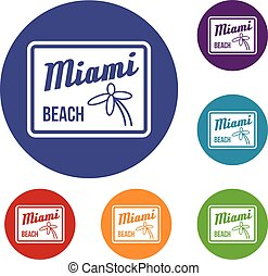 Miami beach icons set in flat circle reb, blue and green...