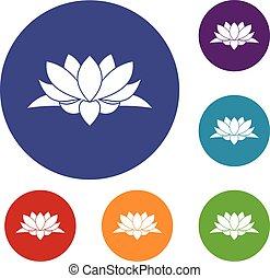 Lotus flower icons set