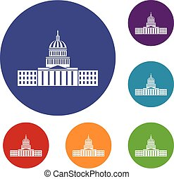Capitol icons set in flat circle reb, blue and green color...