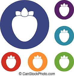 Ripe persimmon icons set in flat circle reb, blue and green...