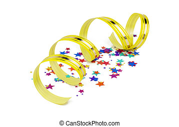 confetti and yellow ribbon on white background