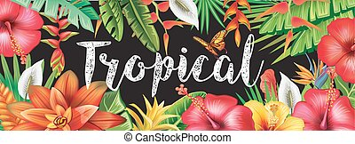 Banner from tropical flowers - Banner from tropical plants...