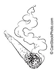 Cartoon image of marijuana joint. An artistic freehand...