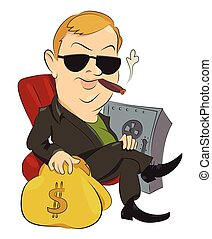 Cartoon image of businessman. An artistic freehand picture.