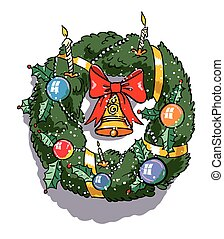 Cartoon image of christmas decoration. An artistic freehand...