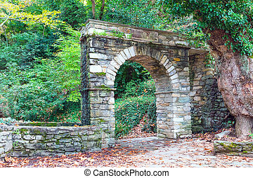 Arch and centaur path in Pelion, Greece - Stone arch and...