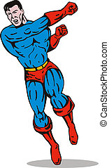 superhero running and punching - Illustration of superhero...