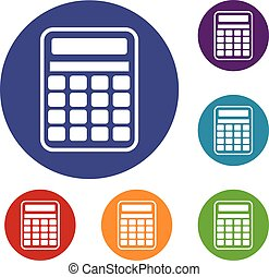 Calculator icons set in flat circle reb, blue and green...
