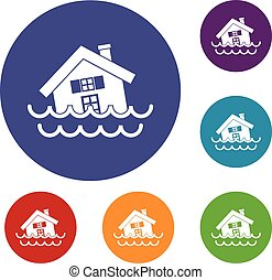 House sinking in a water icons set