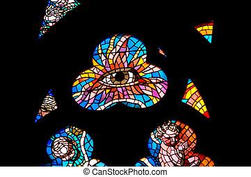 Eye of God - Detail of the color window - bullseye pane -...