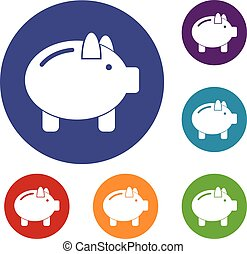 Piggy bank icons set in flat circle reb, blue and green...