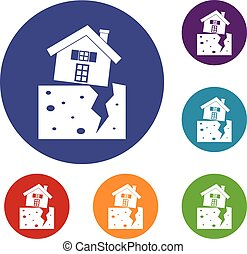 House after an earthquake icons set in flat circle reb, blue...