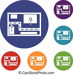 Navigator icons set in flat circle reb, blue and green color...
