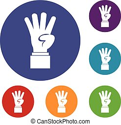 Hand showing number four icons set in flat circle reb, blue...