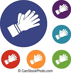 Clapping applauding hands icons set in flat circle reb, blue...