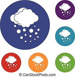 Cloud with hail icons set in flat circle reb, blue and green...