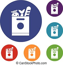 Grocery bag with food icons set in flat circle reb, blue and...