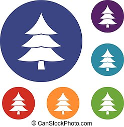 Fir tree icons set
