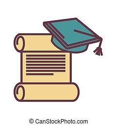 Graduation symbols, old parchment and square academic cap -...