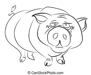 Cartoon image of huge pig. An artistic freehand picture.