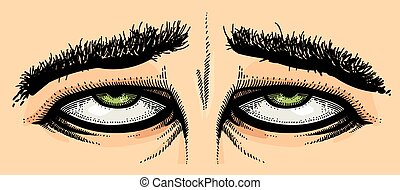 Cartoon image of tired eyes. An artistic freehand picture.