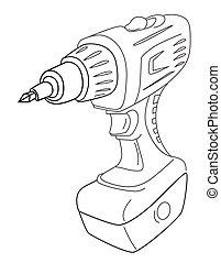 Cartoon image of carton power drill. An artistic freehand...