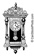 Cartoon image of old clock. An artistic freehand picture.