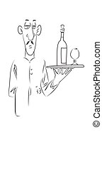 Cartoon image of waiter. An artistic freehand picture.