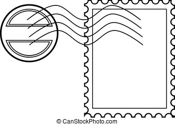 Blank post stamp with rubber stamp