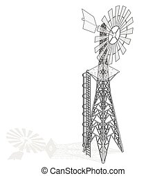 Outlined wind pump for pumping of water on farm. Home wind power plant for power generation.