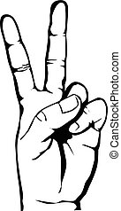 hand with victory sign vector eps 10