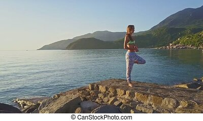 Flycam View Girl on Rock Beach against Hilly Landscape -...