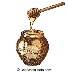 Honey ink sketch illustration - Hand drawn ink sketch...