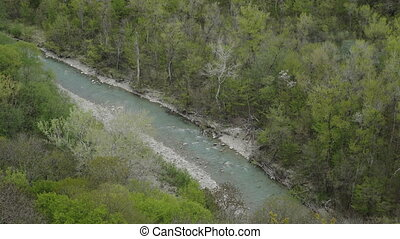 Aerial View of beautiful mountain River - Aerial View of the...