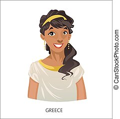 Digital vector funny cartoon greek