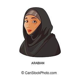 Digital vector funny cartoon arabian woman - Digital vector...