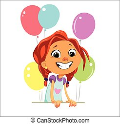 Digital vector funny cartoon happy cute