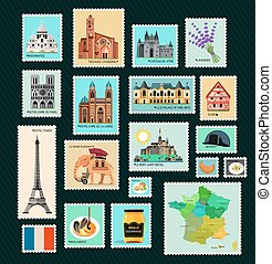 France Travel Stamps.Stamps with France Landmarks. Vector...
